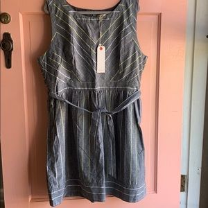NWT Young Threads Chambray Belted Dress sz 4X